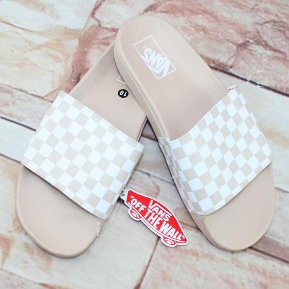 Nwt Vans Sepia Rose Checkerboard Slides